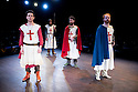 London, UK. 12.06.2014. Bear Trap theatre Company present ENDURING SONG at Southwark Playhouse. Picture shows: Tom Roe (Matthew), Tom Cray (Knight), Alan deVally (Baldwin) and Andy McLeod (Simon/Eustace). Photograph © Jane Hobson.