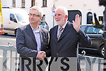 Colin Lacey congratulated by Padraig Kennelly Senior on being appointed editor of Kerry's Eye newspaper