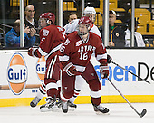 Dan Ford (Harvard - 5), Luke Eibler (Northeastern - 20), Alex Fallstrom (Harvard - 16) - The Northeastern University Huskies defeated the Harvard University Crimson 4-0 in their Beanpot opener on Monday, February 7, 2011, at TD Garden in Boston, Massachusetts.