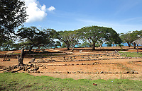 Christian cemetery from colonial times, on a site originally used as a native burial ground, in the archaeological centre of the Parque Nacional Historico y Arqueologico de La Isabela, or Historical National Park of La Isabela, one of the oldest European settlements in the New World, in Luperon province, on the North coast of the Dominican Republic, in the Caribbean. The town of La Isabela was founded in 1493 by Christopher Columbus and a fort, houses, church, warehouses, and an arsenal were built, but the settlement was abandoned in 1496 due to hurricane damage. Picture by Manuel Cohen