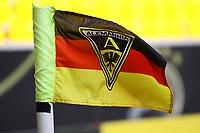 Alemannia Aachen Logo mit Schwarz-Rot-Gold an der Eckfahne zum Besuch der Deutschen Nationalmannschaft für das öffentliche Training - 05.06.2019: Öffentliches Training der Deutschen Nationalmannschaft DFB hautnah in Aachen