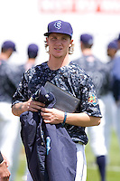 Everett AquaSox pitcher Dylan Unsworth #3 prior to a game against the Spokane Indians at Everett Memorial Stadium on June 24, 2012 in Everett, WA.  Spokane defeated Everett 11-2.  (Ronnie Allen/Four Seam Images)