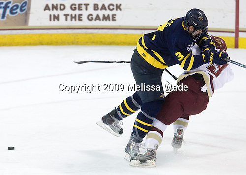 Kyle Bigos (Merrimack - 3), Barry Almeida (BC - 9) - The Boston College Eagles defeated the Merrimack College Warriors 4-3 on Friday, October 30, 2009, at Conte Forum in Chestnut Hill, Massachusetts.