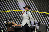 Beck Hansen (Beck) cuts the 'Crime Scene' tape to perform some extra tracks during British Summertime Music Festival at Hyde Park, London, England on 18 June 2015. Photo by Andy Rowland.