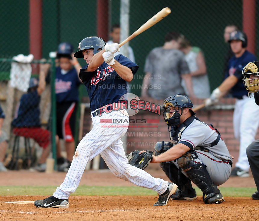 Catcher Kyle Knudson (26) of the Elizabethton Twins in a game against the Danville Braves on July 16, 2010, at Joe O'Brien Field in Elizabethton, Tenn. Photo by: Tom Priddy/Four Seam Images