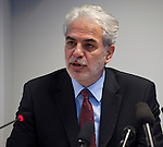 Belgium, Brussels - October 27, 2014 -- Christos STYLIANIDES, the European Union's Ebola Response Coordinator, EU-Commissioner-elect from Cyprus, during a press briefing at the EU's Emergency Response Coordination Centre (ERCC) -- Photo © HorstWagner.eu