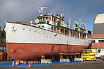 Port Townsend, yacht, Thea Foss, boats on the hard, Haven Boatworks, Boat Haven Marina, steel hulled boats, Puget Sound, Olympic Peninsula, Washington State, Pacific Northwest, United States,
