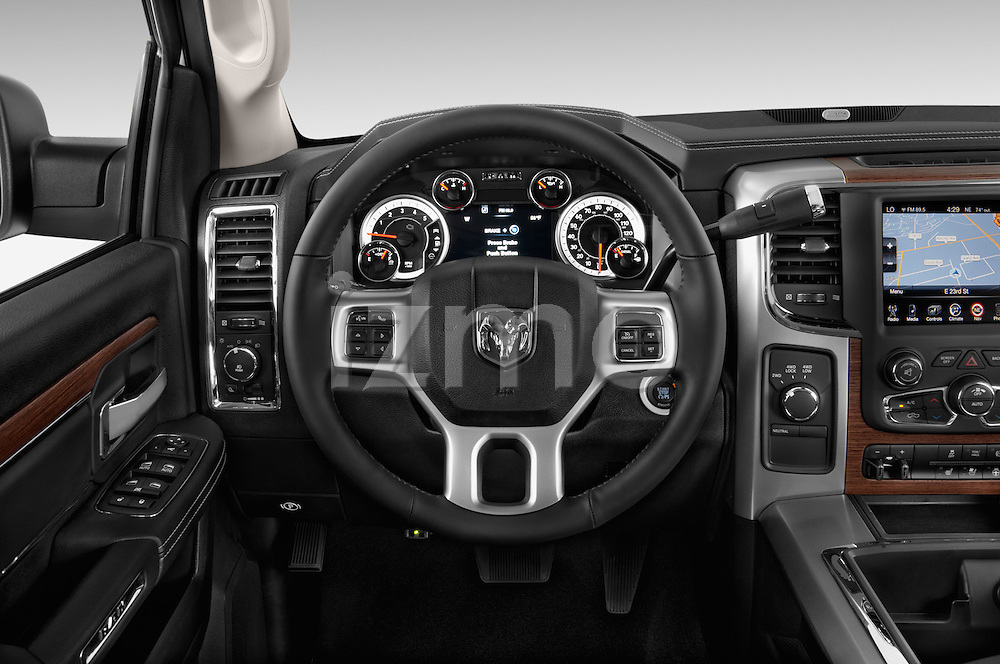 Car pictures of steering wheel view of a 2015 Ram 2500 Laramie Mega Cab 4 Door Truck Steering Wheel