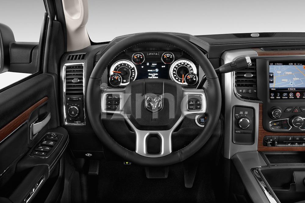 Car pictures of steering wheel view of a 2015 Ram 2500 Laramie Mega Cab 4 Door Truck Steering Wheel