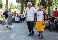 Couples dance Danzón in the plaza of Santa Maria Del Rio, San Luis Potosi, Mexico