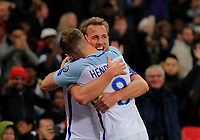 England Harry Kane celebrates with Jordan Henderson his only goal for England during the FIFA World Cup 2018 Qualifying Group F match between England and Slovenia at Wembley Stadium on October 5th 2017 in London, England.<br /> Calcio Inghilterra - Slovenia Qualificazioni Mondiali <br /> Foto Phcimages/Panoramic/insidefoto