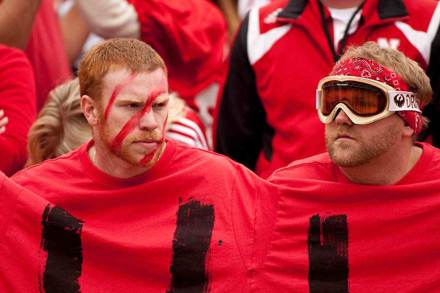 24 October 2009: Nebraska fans wearing a SUUUUH shirt not happy with the direction of the game against Iowa State at Memorial Stadium, Lincoln, Nebraska. Iowa State defeated Nebraska 9 to 7.