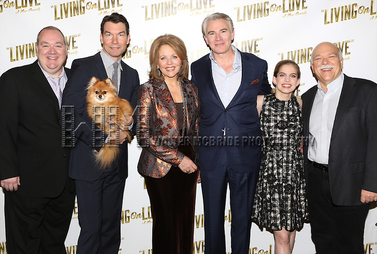 Blake Hammond, Jerry O'Connell, Trixie, Renee Flemming, Douglas Sills, Anna Chlumsky and Scott Robertson attends the 'Living on Love' photo call at the Empire Hotel on March 12, 2015 in New York City.