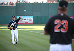 Reno Aces' manager Brett Butler warms up before the Triple-A All Star Home Run Derby in Reno, Nev., on Monday, July 15, 2013. Butler pitched to one of the of competitors.<br /> Photo by Cathleen Allison