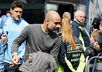 Manchester City manager Josep Guardiola arrives ahead of kick-off at Turf Moor<br /> <br /> Photographer Rich Linley/CameraSport<br /> <br /> The Premier League - Burnley v Manchester City - Sunday 28th April 2019 - Turf Moor - Burnley<br /> <br /> World Copyright © 2019 CameraSport. All rights reserved. 43 Linden Ave. Countesthorpe. Leicester. England. LE8 5PG - Tel: +44 (0) 116 277 4147 - admin@camerasport.com - www.camerasport.com