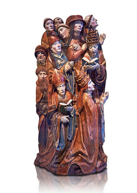 Painted wooden relief sculptured altarpiece of two Popes, a  Cardinal, a Bishop a cannon and 7 priests praying made in 1505 by Daniel Mauch from Ulm. Inv RF 2805,  The Louvre Museum, Paris.