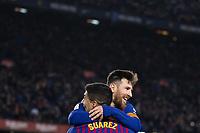 BARCELONA, 30-01-2019. Copa el Rey 2018/ 2019, round of 8 first leg. Barcelona-Sevilla. Lionel Messi of FC Barcelona celebrates his goal (6-1)  with Luis Suarez during the game Barcelona 6-1 Sevilla <br /> Photo Jan Huebner/Lau/Imago/Insidefoto