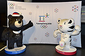 13th December 2017, PyeongChang South Korea; The official Mascots Bandabi and Soohorang with logo PyeongChang 2018 South Korea