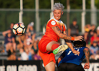 Kansas City, MO - Sunday July 02, 2017:  Janine Van Wyk attempts a header during a regular season National Women's Soccer League (NWSL) match between FC Kansas City and the Houston Dash at Children's Mercy Victory Field.