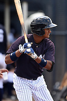 GCL Yankees 1 outfielder Leonardo Molina (18) on deck during the second game of a doubleheader against the GCL Braves on July 1, 2014 at the Yankees Minor League Complex in Tampa, Florida.  GCL Braves defeated the GCL Yankees 1 by a score of 3-1.  (Mike Janes/Four Seam Images)