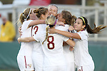 10 November 2013: Florida State teammates congratulate Dagny Brynjarsdottir (ISL) (behind #8, facing) after her first half goal. The Florida State University Seminoles defeated the Virginia Tech Hokies 1-0 at WakeMed Stadium in Cary, North Carolina in a 2013 NCAA Division I Women's Soccer match and the championship game of the Atlantic Coast Conference tournament.