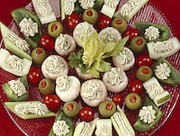 Stuffed Vegetable Hors d'oeuvre on a large glass plate