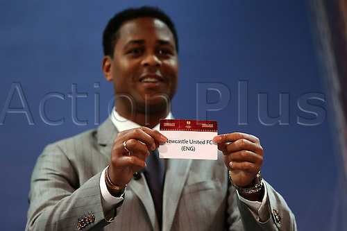 15.03.2013. Nyon, Switzerland. The Europa League quarter final drawing.  Newcastle United (Eng)  is drawn from the pot by Patrick Kluivert to play Benfica