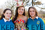 Isabelle Crowe of Mercy Mounthawk wearing her creation for the upcoming Junk Kouture finals in Limerick with her fellow designers.<br /> L-r, Louise O&rsquo;Sullivan, Isabelle Crowe and Clodagh O&rsquo;Sullivan.