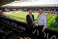 Trevor Birch shakes hands with Chris (viola)  during the Sky Bet Championship match between Swansea City and Nottingham Forest at the Liberty Stadium in Swansea, Wales, UK. Saturday 14 September 2019