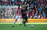 Nemanja Matic of Man Utd holds off Jese of Stoke City during the Premier League match between Stoke City and Manchester United at the Britannia Stadium, Stoke-on-Trent, England on 9 September 2017. Photo by Andy Rowland.