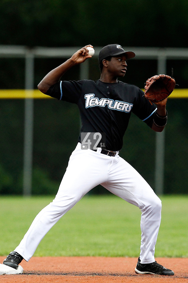 16 July 2011: Fred Hanvi of Senart throws to first base during the 2011 Challenge de France match won 5-4 by the Savigny Lions over the Senart Templiers, at Stade Pierre Rolland, in Rouen, France.