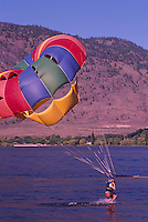 Parasailing at Osoyoos Lake, Osoyoos, BC, South Okanagan Valley, British Columbia, Canada, Summer