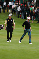 Lee Westwood (ENG) and Jamie Donaldson (WAL) on the 1st during the final day of the Omega European Masters, Crans-Sur-Sierre, Crans Montana, Switzerland.4/9/11.Picture: Golffile/Fran Caffrey..