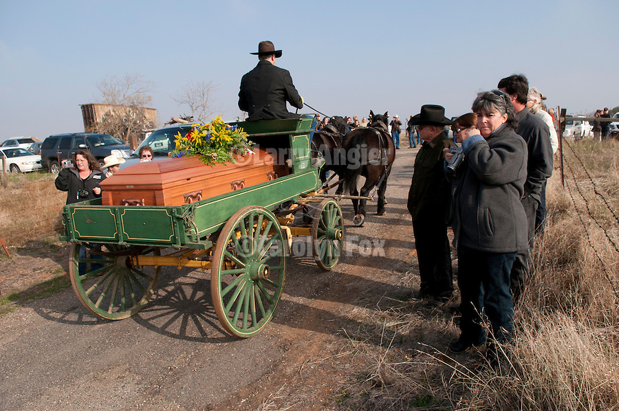 """A horse-drawn wagon takes the coffin and remains of the late Gale """"Slick"""" Slicton to the hill-top Milton cemetery for his final trip on a dreary winter day, Milton, Calif."""