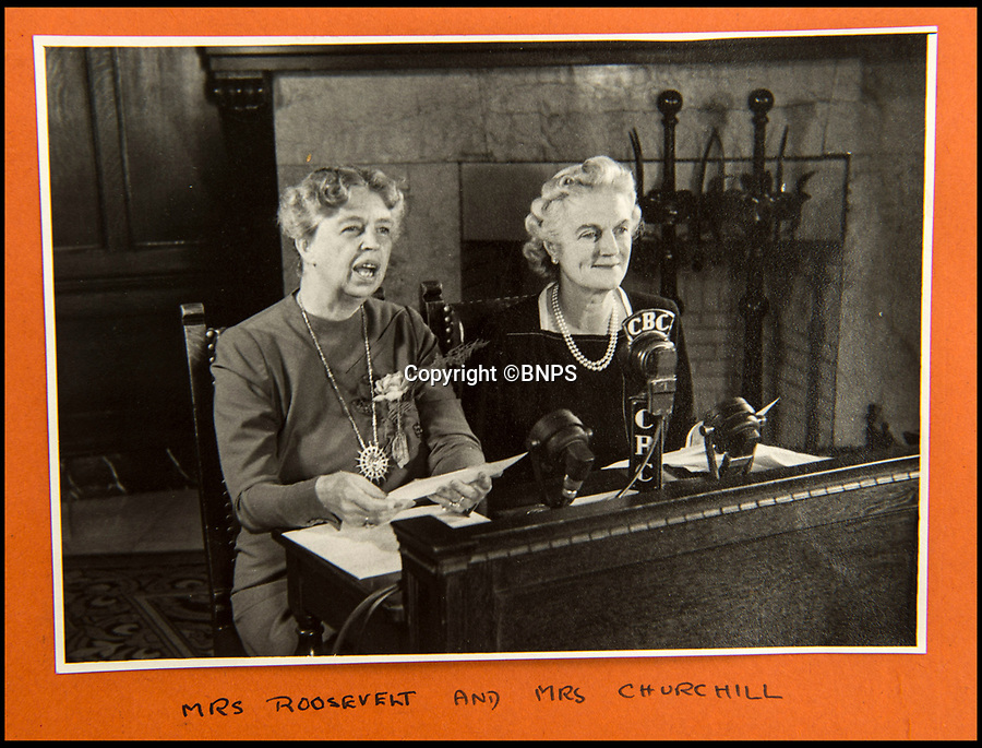 BNPS.co.uk (01202 558833)<br /> Pic: C&amp;T/BNPS<br /> <br /> Churchill's wife Clemmie with Mrs Roosevelt at the Quebec Conference in Sept 1944.<br /> <br /> A humble secretary's remarkable first hand archive of some of the most momentous events of WW2 has come to light.<br /> <br /> 'Miss Brenda Hart' worked in the Cabinet Office during the last two years of the war, travelling across the globe with the Allied leaders as the conflict drew to a close.<br /> <br /> Her unique collection of photographs and momentoes of Churchill, Stalin and other prominent Second World War figures have been unearthed after more than 70 years.<br /> <br /> The scrapbooks, which also feature Lord Mountbatten and Vyacheslav Molotov, were collated by Brenda Hart who, in her role as secretary to Churchill's chief of staff General Hastings Ismay, enjoyed incredible access to him and other world leaders.<br /> <br /> She also wrote a series of letters which give fascinating insights, including watching Churchill and Stalin shaking hands at the Bolshoi ballet in 1944, being behind Churchill as he walked out on to the balcony at the Ministry of Health to to wave to some 50,000 Londoners on VE day and even visiting Hitler's bombed out Reich Chancellery at the end of the war.<br /> <br /> This unique first hand account, captured in a collection of photos, passes, documents and letters are being sold at C&amp;T auctioneers on15th March with a &pound;1200 estimate.
