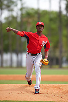 Washington Nationals Phillips Valdez (43) during a minor league Spring Training game against the Detroit Tigers on March 21, 2016 at Tigertown in Lakeland, Florida.  (Mike Janes/Four Seam Images)