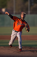 AZL Giants Orange starting pitcher Francis Pena (87) delivers a pitch during an Arizona League game against the AZL Athletics at Lew Wolff Training Complex on June 25, 2018 in Mesa, Arizona. AZL Giants Orange defeated the AZL Athletics 7-5. (Zachary Lucy/Four Seam Images)