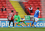 Simon Moore of Sheffield Utd makes a save during the League One match at Bramall Lane Stadium, Sheffield. Picture date: September 17th, 2016. Pic Simon Bellis/Sportimage