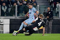 26th November 2019; Allianz Stadium, Turin, Italy; UEFA Champions League Football, Juventus versus Atletico Madrid; Matthijs de Ligt of Juventus challenges Vitolo of Atletico Madrid - Editorial Use