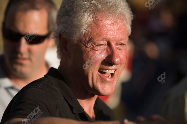 Former U.S. President William (Bill) Clinton lends his support to his wife, Senator Hillary Clinton (D-New York), potential Democratic Presidential candiate, at a campaign rally. Cedar Rapids, Iowa, July 4, 2007