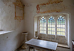 Chancel All Saints church, Leigh, Wiltshire, England, UK interior with ancient wall texts old wooden furniture