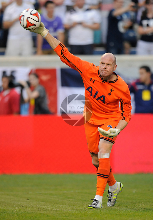 Football - International Friendly - Tottenham Hotspurs at Chicago Fire.      <br /> Tottenham goalkeeper Brad Friedel throws out the ball in the first half. The Tottenham Hotspurs effected the Chicago Fire 2-0 in an international friendly game at Toyota Park in Bridgeview, Illlinois on Saturday July 26, 2014.