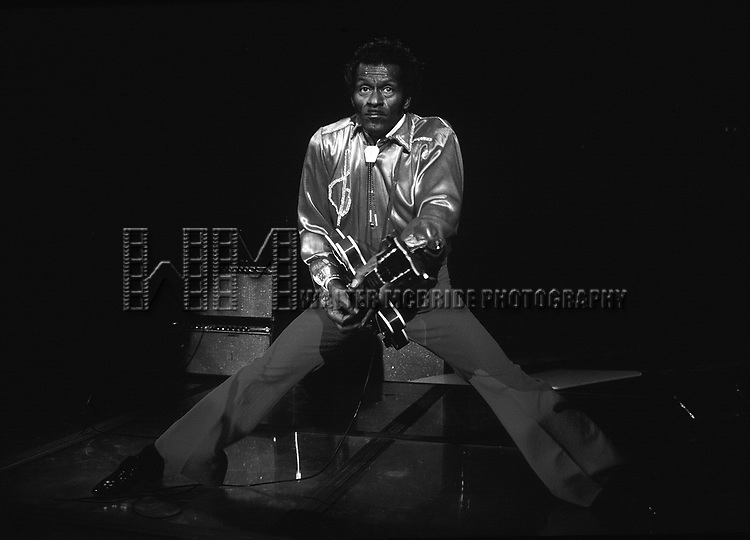 Chuck Berry pictured performing at Red Parrot in New York City in 1983.