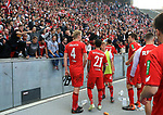 14.04.2018, OLympiastadion, Berlin, GER, 1.FBL, Hertha BSC VS. 1.FC Koeln, im Bild <br /> Frederik Soerensen (1.FC Koeln #4), Leonardo Bittencourt (1.FC Koeln #21), Vincent Koziello (1.FC Koeln #41), Jonas Hector (1.FC Koeln #14), Dominique Heintz (1.FC Koeln #3), beim Koelner-Fanblock<br /> <br /> <br />       <br /> Foto &copy; nordphoto / Engler