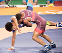 (L-R) Shinobu Ota (JPN), Ismael Borrero Molina (CUB), AUGUST 14, 2016 - Wrestling : Men's Greco-Roman 59kg final match at Carioca Arena 2 during the Rio 2016 Olympic Games in Rio de Janeiro, Brazil. (Photo by Enrico Calderoni/AFLO SPORT)