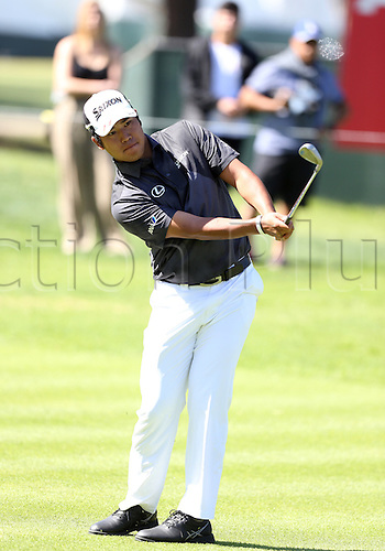20.02.2016. Pacific Palisades, California, USA.  Hideki Matsuyama hits a shot from the fairway  during the third round of the Northern Trust Open at Riviera Country Club in Pacific Palisades, CA.