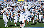 October 22, 2016 - Colorado Springs, Colorado, U.S. -   Hawaii players celebrate the Rainbow Warrior's double overtime victory following the NCAA Football game between the University of Hawaii Rainbow Warriors and the Air Force Academy Falcons, Falcon Stadium, U.S. Air Force Academy, Colorado Springs, Colorado.  Hawaii defeats Air Force in double overtime 43-27.