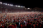 A general view of Camp Randall Stadium after the fans stormed the field after upsetting top ranked Ohio State Buckeyes during an NCAA football game on October 16, 2010 in Madison, Wisconsin. The Badgers beat the Buckeyes 31-18. (Photo by David Stluka)