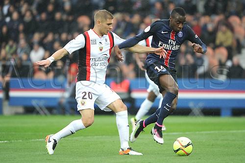 02.04.2016. Paris, France. French League 1 football. Paris St Germain versus Nice.  BLAISE MATUIDI (psg) challenges MAXIME LE MARCHAND (nice)
