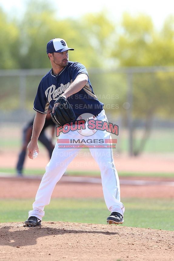 John Hussey #29 of the San Diego Padres pitches during a Minor League Spring Training Game against the Kansas City Royals at the Kansas City Royals Spring Training Complex on March 26, 2014 in Surprise, Arizona. (Larry Goren/Four Seam Images)